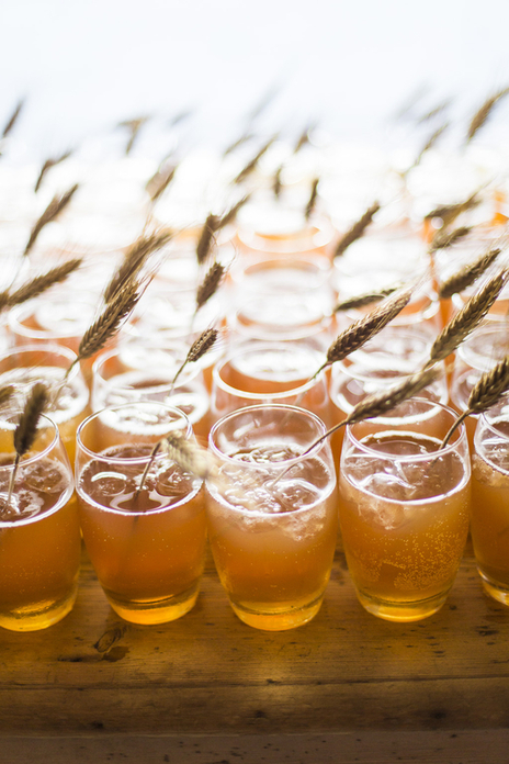 Cider glasses for wedding guests, Somerset UK