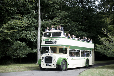 Double decker bus carrying the wedding party in Somerset to Dorset
