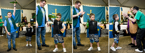 photo sequence of Spanish child learning to throw cider