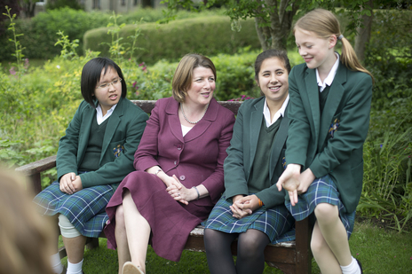 headmistress and school girls in Somerset pose for photography