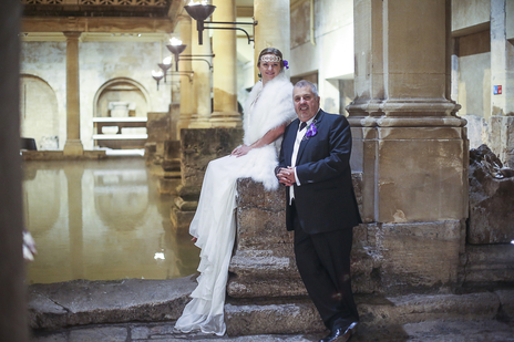 Photo of Bride and Groom at a wedding in Roman Baths, Bath, Somerset