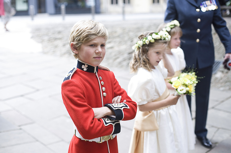 Photo of a handsome boy at a military wedding in Bath, Somerset