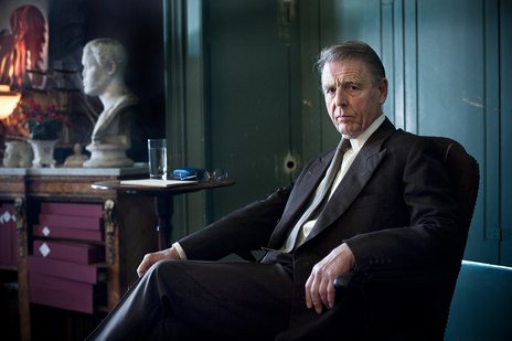 portrait of actor edward fox on set looking into camera