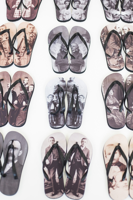 A pattered layout display of various fashion design flip-flops.