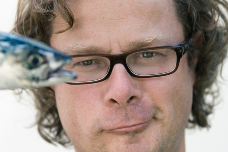 photo of Hugh Fearnly Wittingstall holding a fish