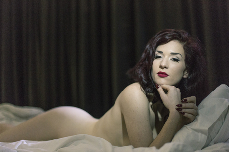 missy fatale posing nude on bed looking to camera -very sexy