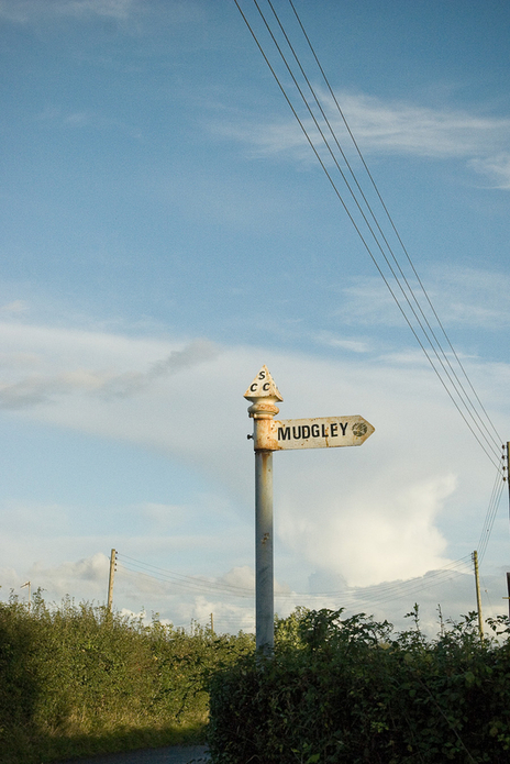 roadsign post Mudgely , Somerset