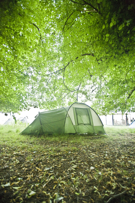 Festival photograph of a green tent under a green leaf canopy in South West UK