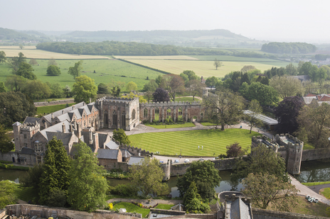 aerial photographer somerset bishops palace wells cathedral