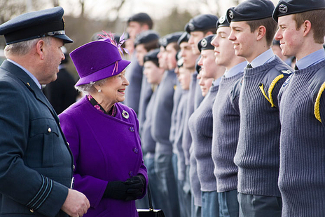 Queen Elizabeth II inspects young RAF cadets