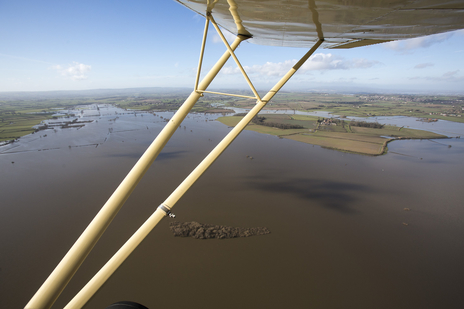 view of Somerset from the air showing wing tip by photographer