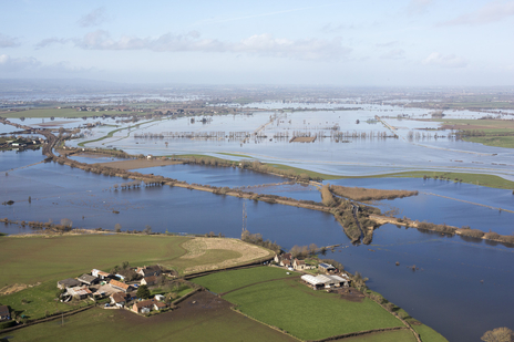 aerial photo overlooking flooded Somerset