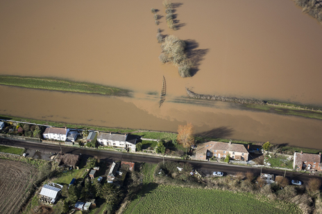 murky floodwater mixing aerial photo