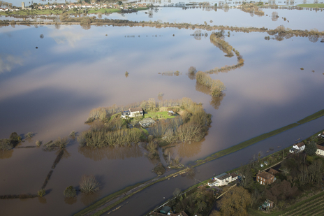 aerial photography of flooded Somerset