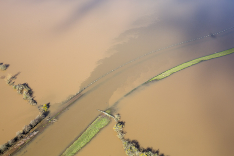 floodwater mixes together in Somerset aerial photography