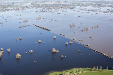 wide landscape of Somerset levels flooded, aerial photograph