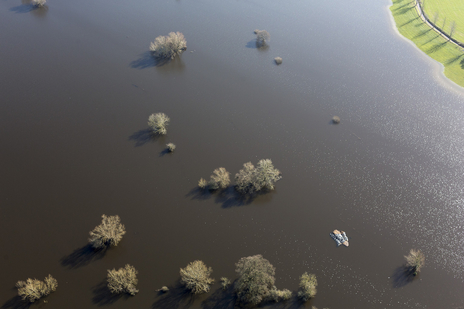 aerial photograph of flooded Somerset Levels
