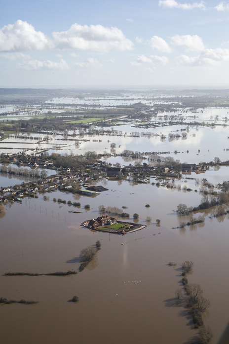 Flooded Somerset, aerial photography