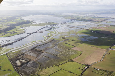 wide flooded landscape photograph Somerset levels