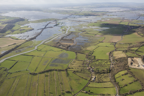 langport, somerset aerial flood photography