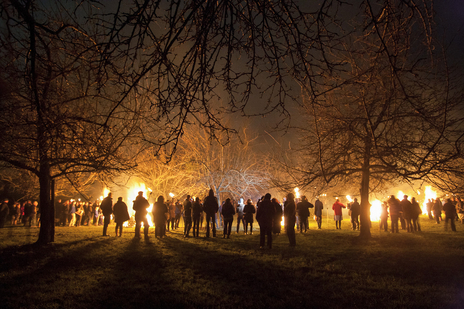 a crowd watch fires in an orchard at night