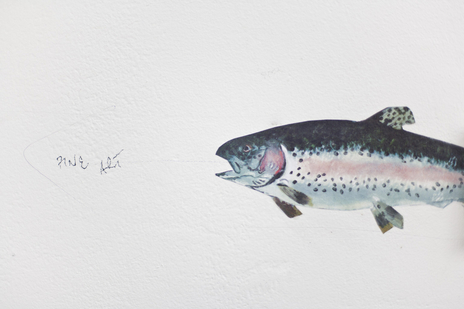 painting of trout talking