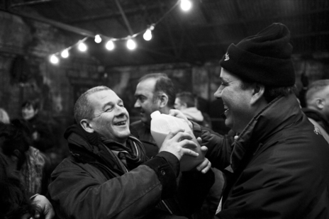 wassail partygoer drinking cider photo