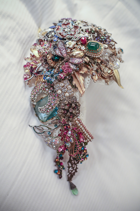 photo of wedding bouquet made of vintage brooches