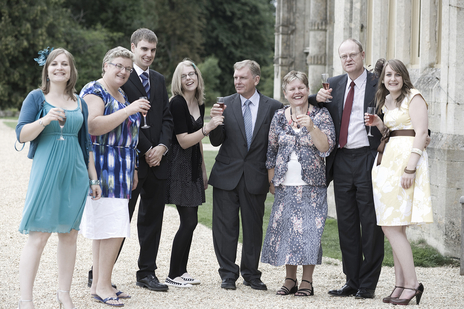Happy family photo at a Somerset wedding