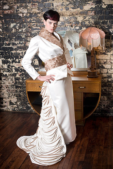 a wedding fashion photo showing a lady wearing a modern dress