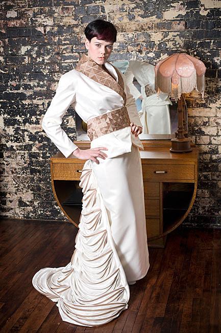 a wedding fashion photo showing a lady wearing a modern dress
