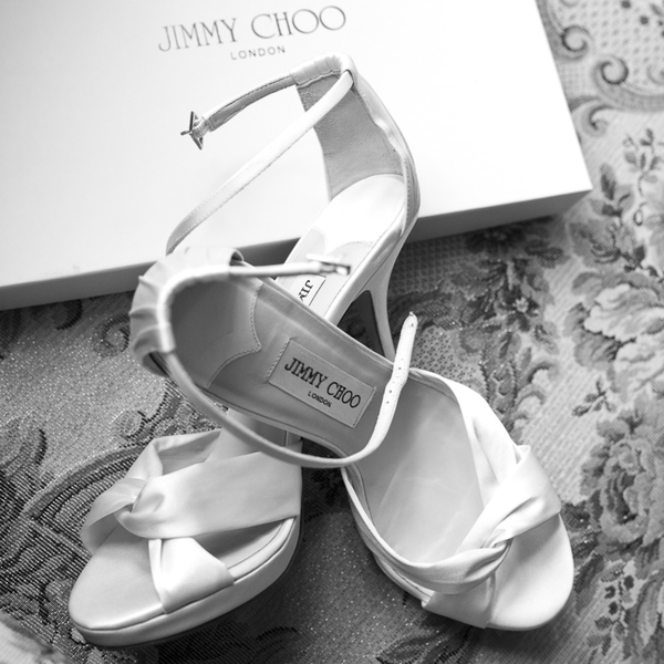 pair of Jimmy Choo wedding shoes photo