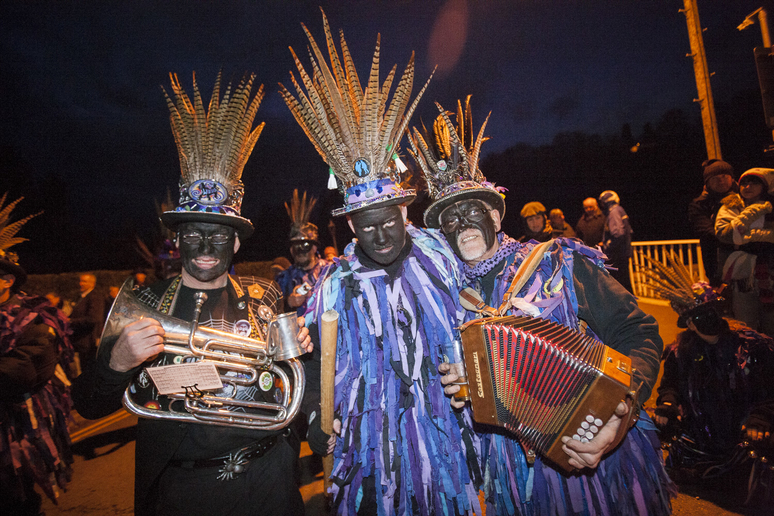 musicians at Mari Lwyd celebration