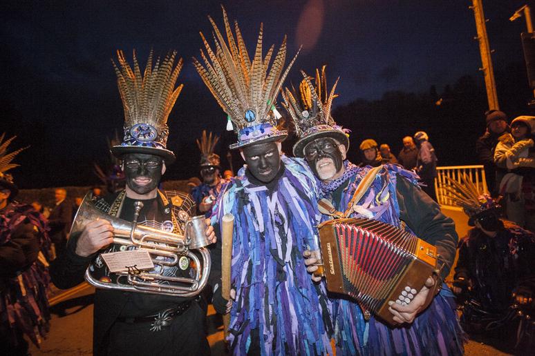 musicians at Mari Lwyd celebration