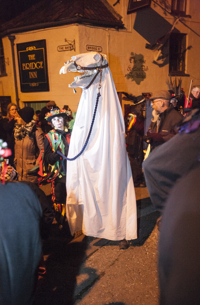 the mari lwyd is held by a boy