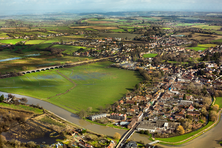 aerial photography of Langport, Somerset