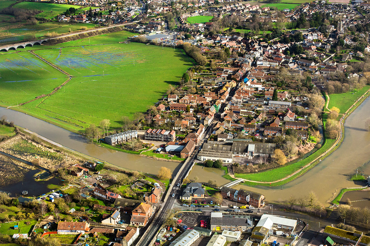 aerial photograph of Langport town bridge in Somerset