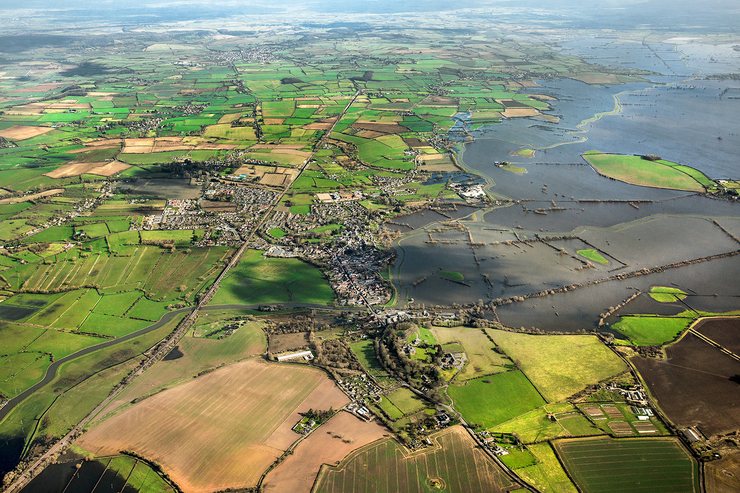 aerial photograph of Langport town & surrounding area in Somerset