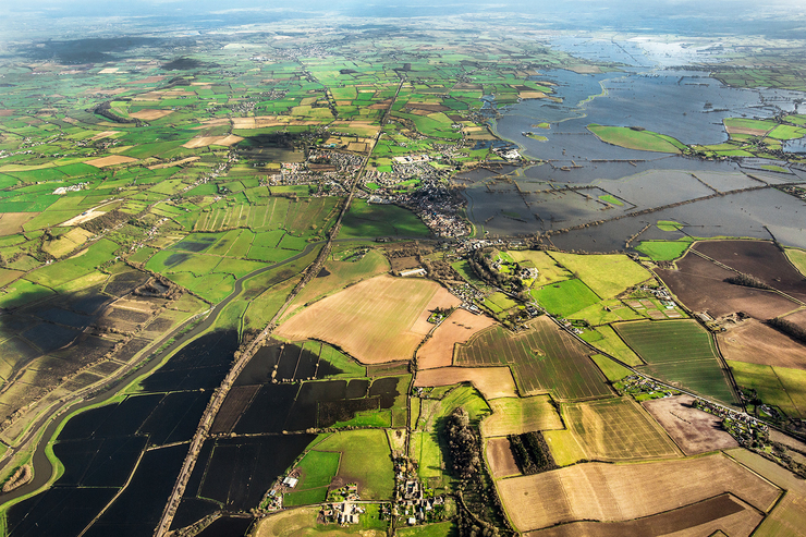 aerial photography of flooded Langport area, Somerset