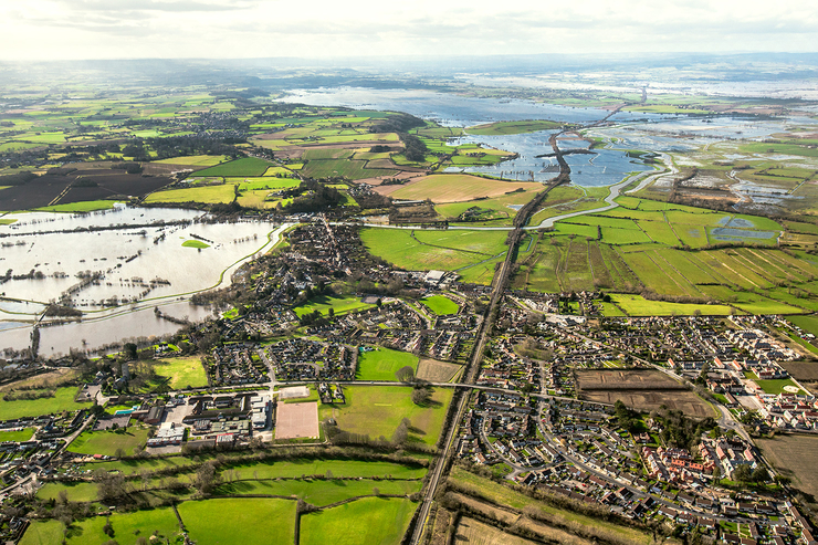 aerial photograph of flooded Somerset Levels, Langport area