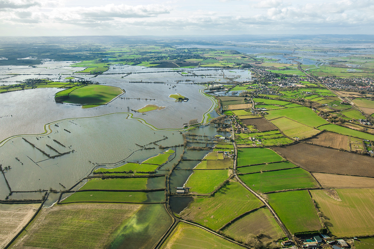 huge flooded area of the Somerset Levels, aerial photograph, Langport